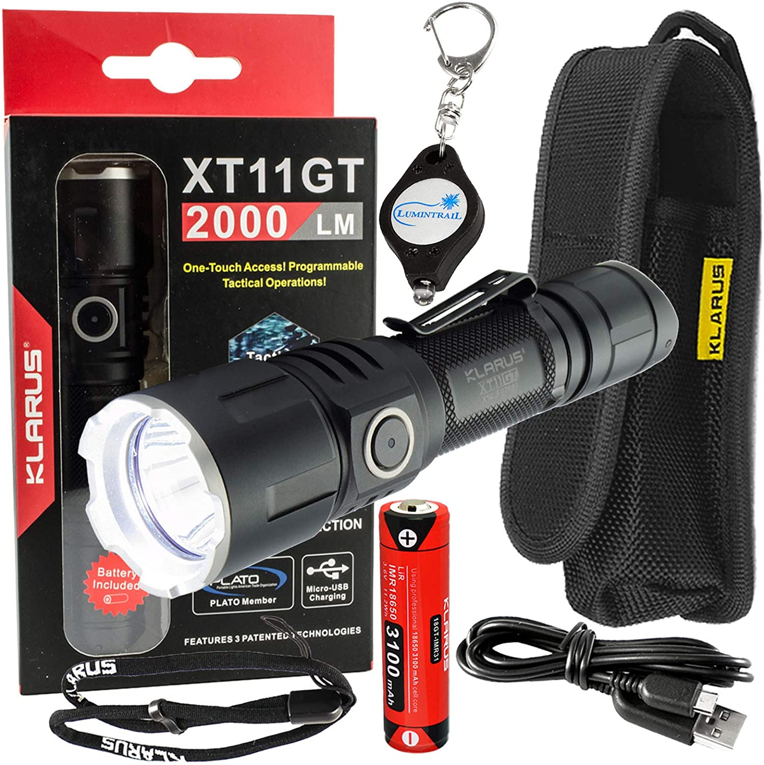 klarus XT11GT Tactical Rechargeable Flashlight CREE XHP35 HD E4 LED 2000 Lumens w/Lumintrail Keychain Light