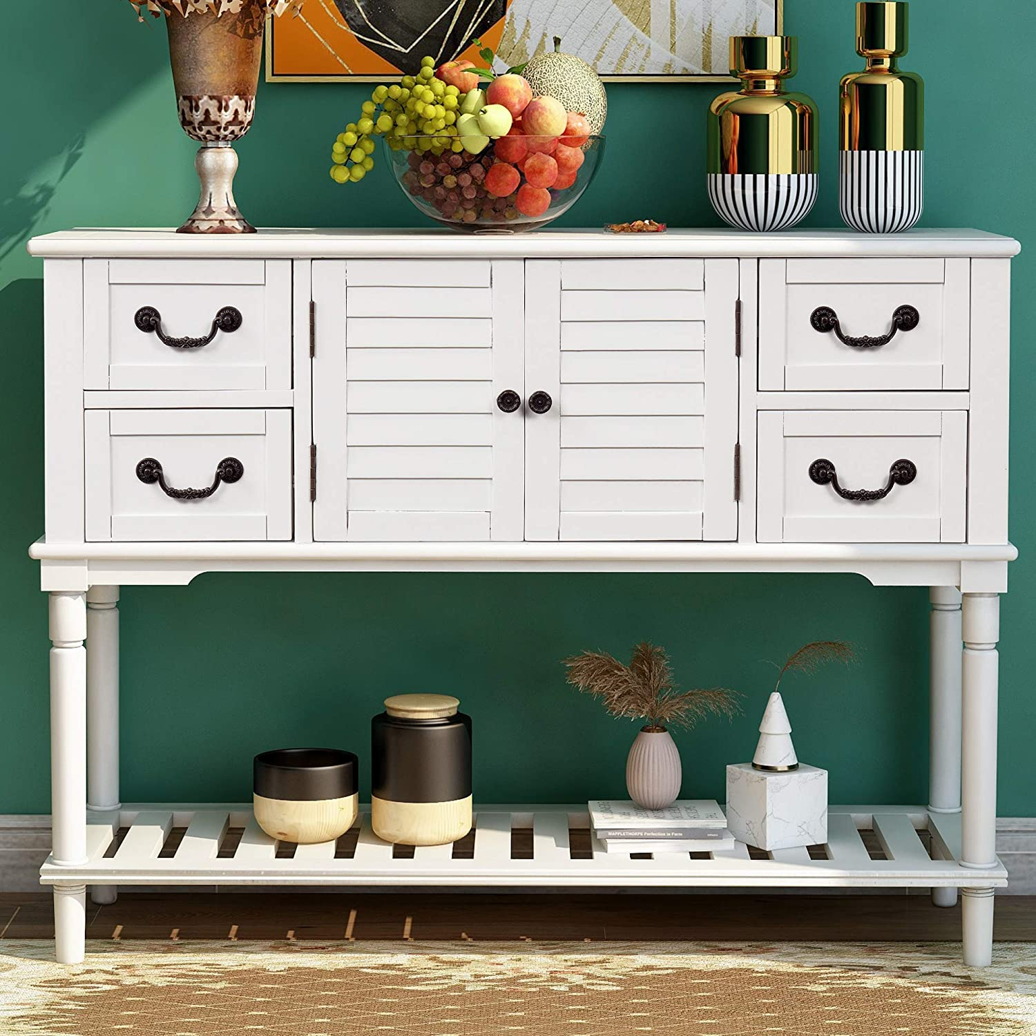 QSSLLC Console Table Sideboard Rustic Cabinet Entryway Sofa Table with 4 Storage Drawer and Shutter Doors - White