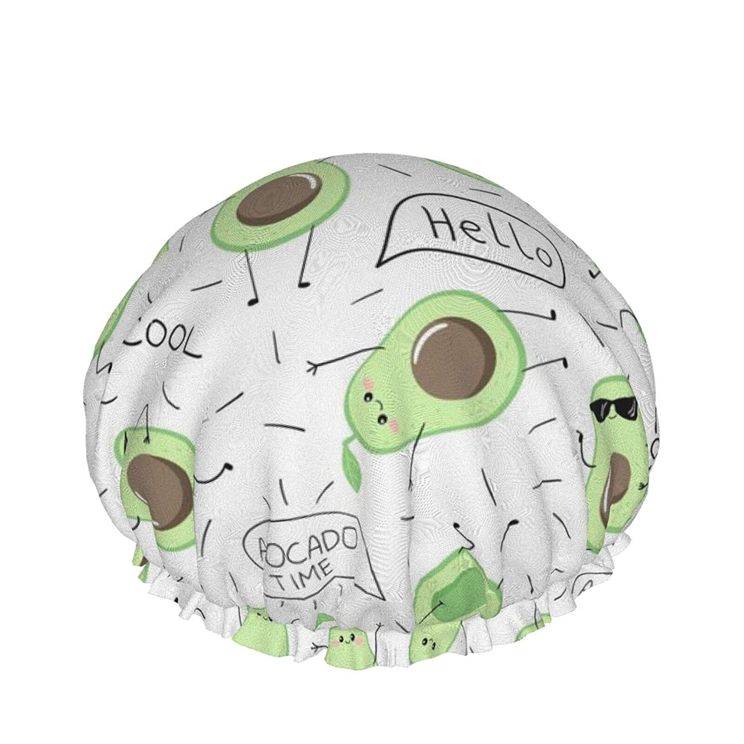 Double Waterproof Layers Shower Cap, Funny Avocado Printed Shower Caps For Women, Double Waterproof Layers Bathing Shower Hat Hair Protection Eva Shower Caps Reusable, Medium Size