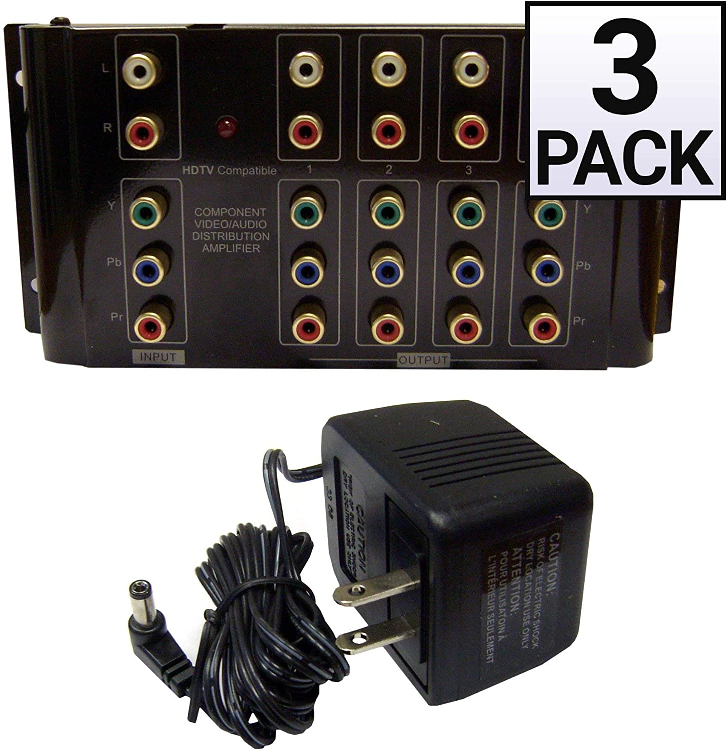 GOWOS (3 Pack) Component Video and Audio RCA Distribution Amplifier/Splitter, 4 Way