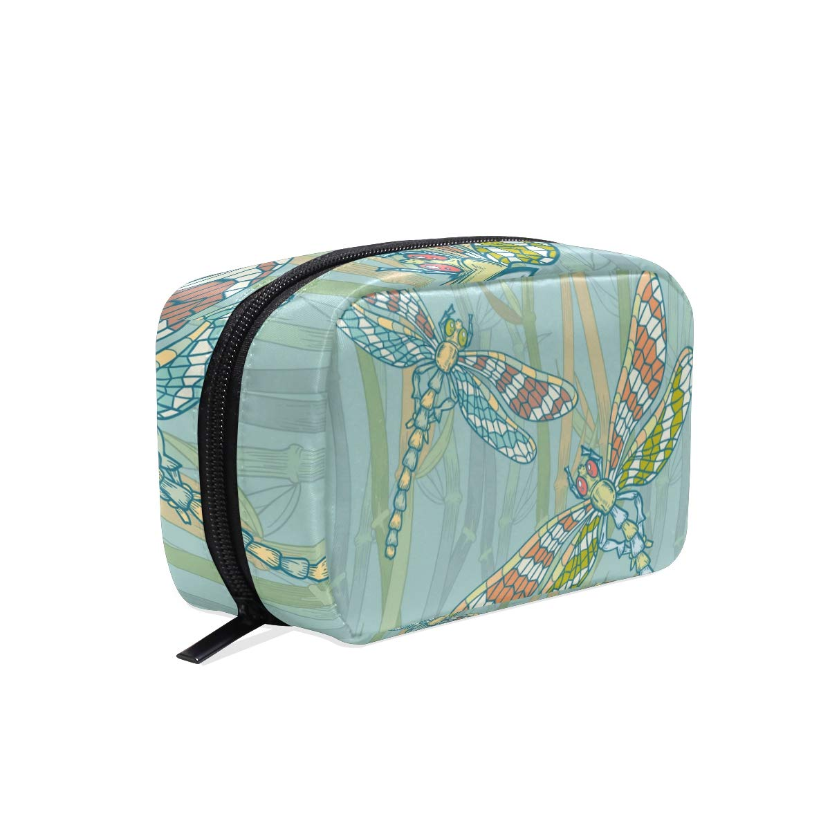 Makeup Bag Portable Travel Cosmetic Bags Dragonfly Water Plant Storage Bag for Women Skincare Makeup Train Case