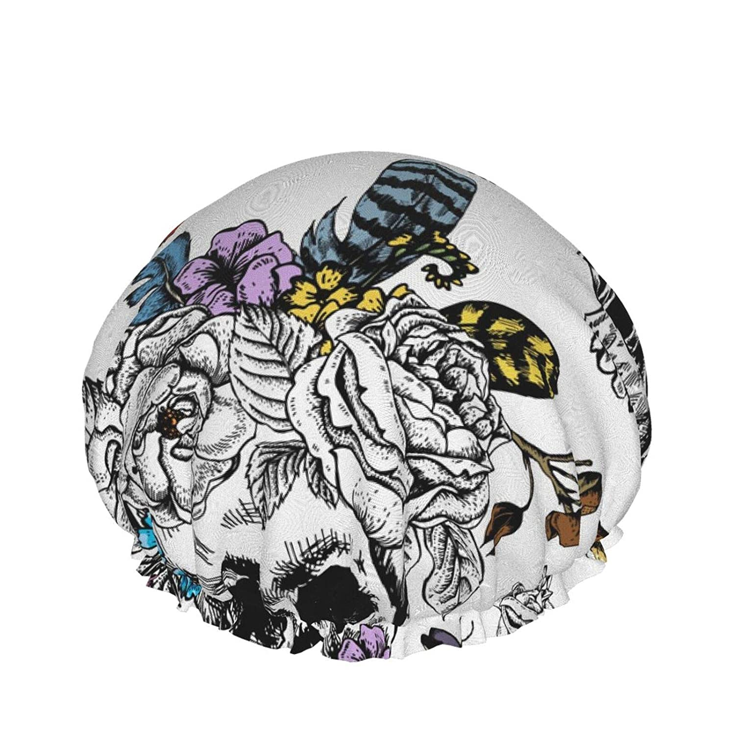 Skull And Flowers Day Of The Dead Black Tattoo Shower Cap for Women, Double Waterproof Bath Cap Hair Bonnet, 3D Printed Shower Hat Hair Protection Shower Caps for Spa Makeup Salon Home Use