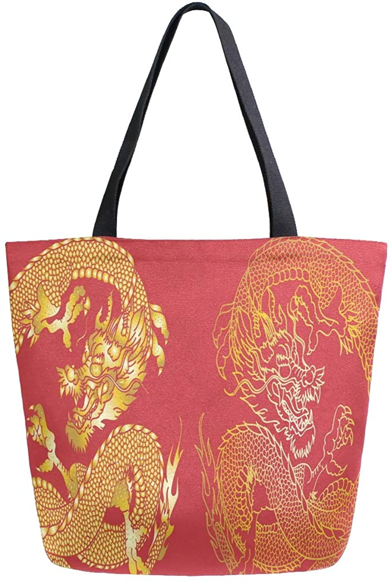Woman Tote Bag Gold Japanese Dragon Tattoo Shoulder Handbag for Work Travel Business Beach Shopping School