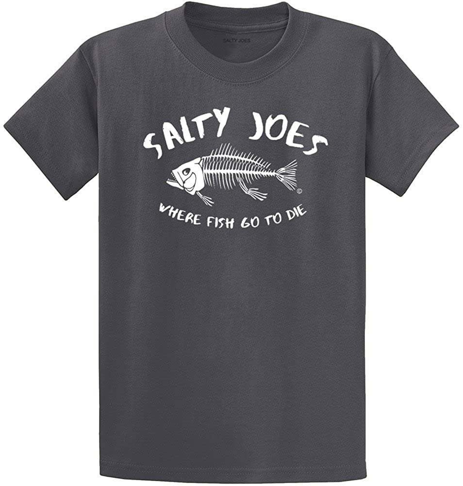 Salty Joe's Where Fish Go to Die Heavyweight Cotton T-Shirt-Charcoal/w-2XL