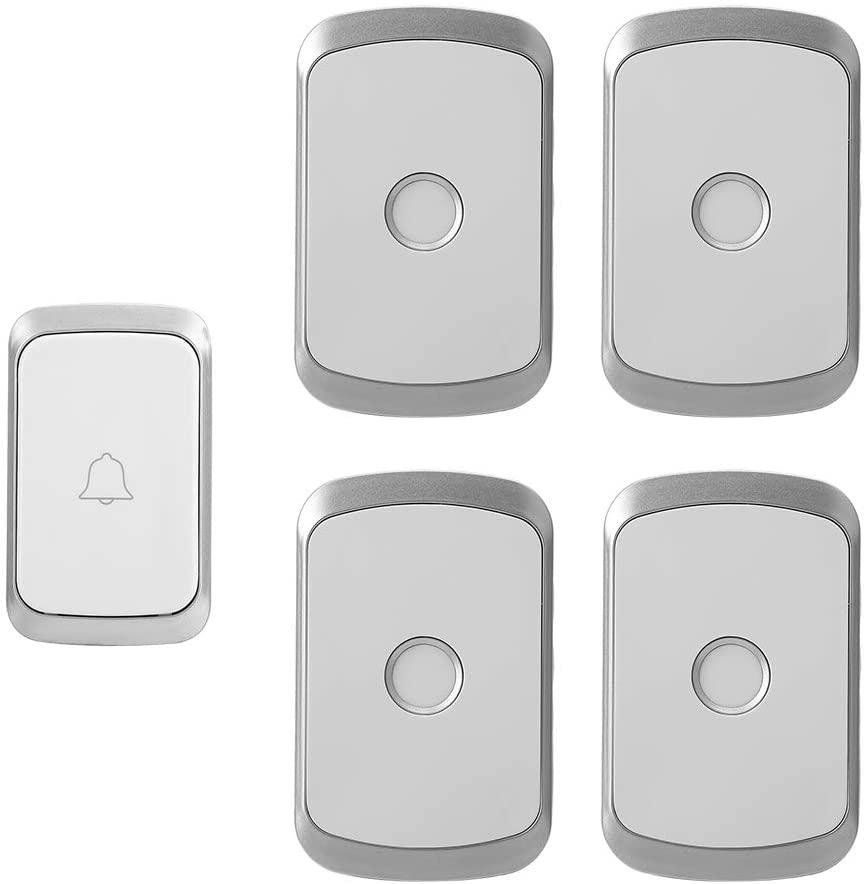 Wireless Doorbell, 1v4 Doorbell Kit Transmitter Receiver Digital Wireless Doorbell Waterproof Doorbell Operatting Over 1000 Feet(US)
