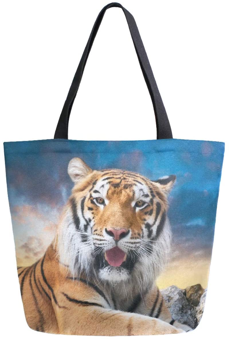 ZzWwR 3d Cute Tiger Print Extra Large Canvas Shoulder Tote Top Storage Handle Bag for Gym Beach Weekender Travel Shopping