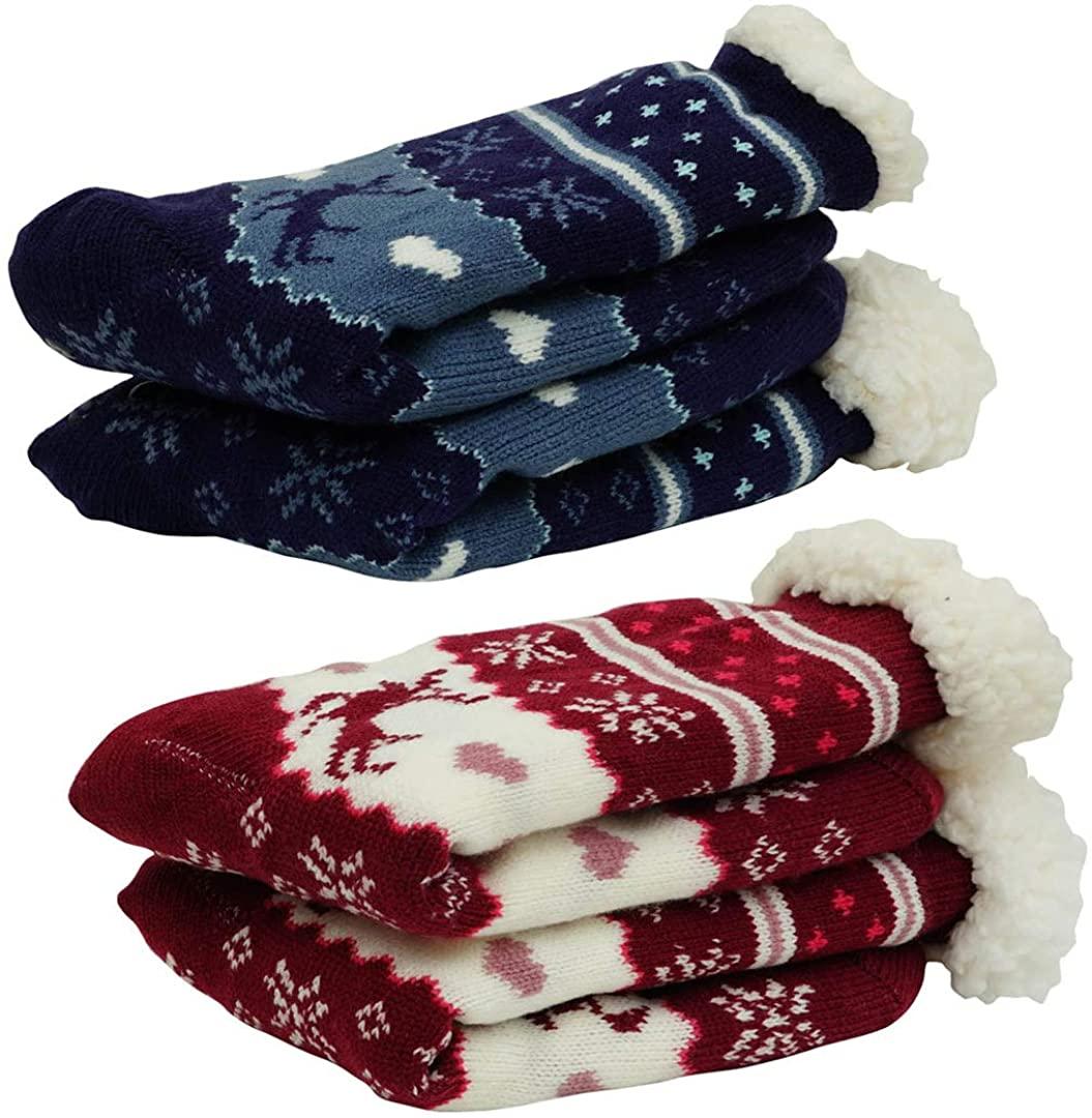 Women's Winter Warm Cozy Fuzzy Fleece Christmas Slipper Socks
