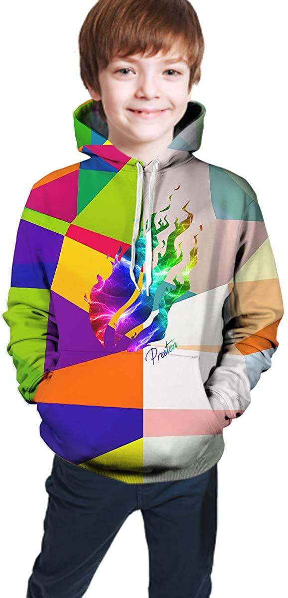 ZHONGAOMEI Teen Boy Girls HoodiePreston Fire Nation Playz Gamer Flame Fashion Hoodie Sweatshirt
