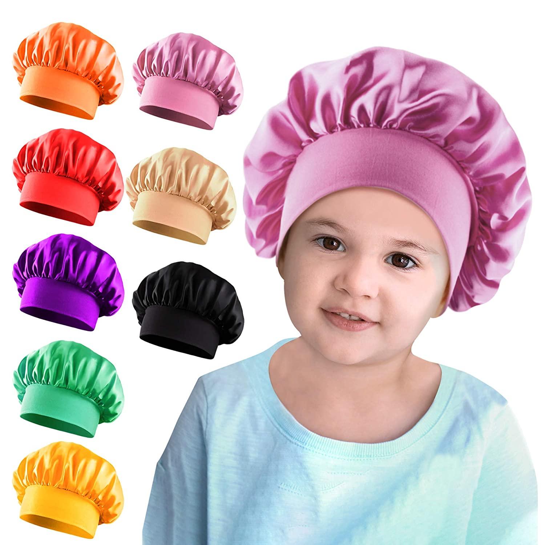 Duufin 8 Packs Kids Bonnets Satin Sleep Caps Wide Band Sleeping Bonnet Cap Hair Bonnet for Toddler Children Baby