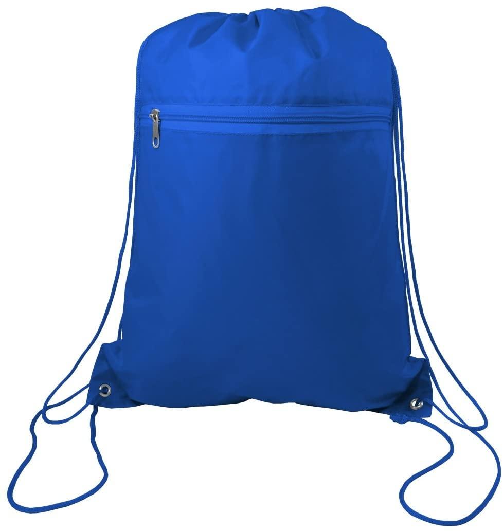 Zippered Drawstring Bag Cinch Sack Promotional Backpack Gym Travel Hike 12 Pack (Royal)
