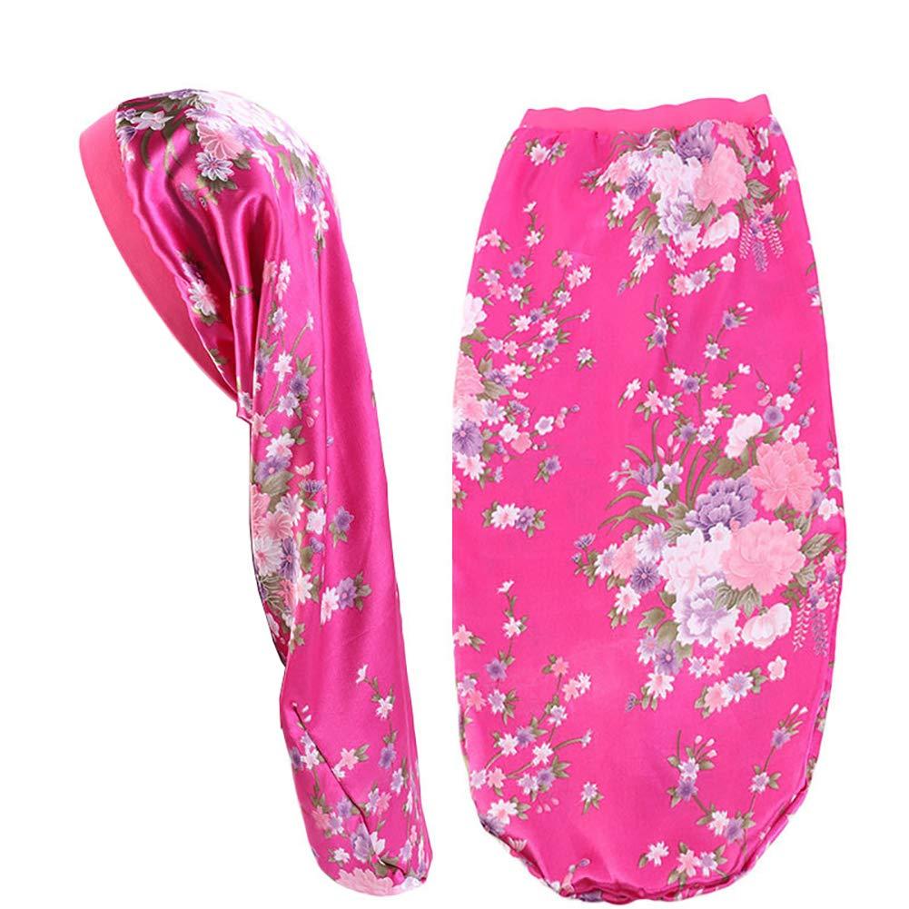 Extra Long Satin Bonnet Sleep Cap Long Bonnet for Braids Hair Loose Cap (Fuchsia Flowers)