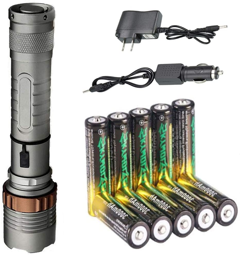 High Lumens LED 18650 Flashlights Set Included 10x 18650 Rechargeable Battery + Car Charger & DC Charger+ Tactical Flashlight, 5 Modes, Zoomable Handheld Torch Light for Camping Outdoor