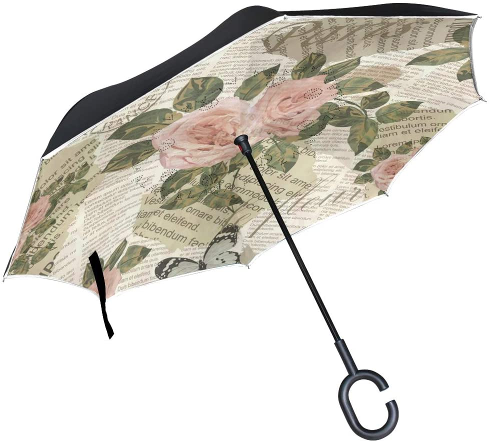 ALAZA Vintage Newspaper Rose & Butterfly Windproof Inverted Open Close Reverse Rain Umbrella Inside Out Quality Waterproof Parasol Upside Down Stick Shelter with Hook c Handle