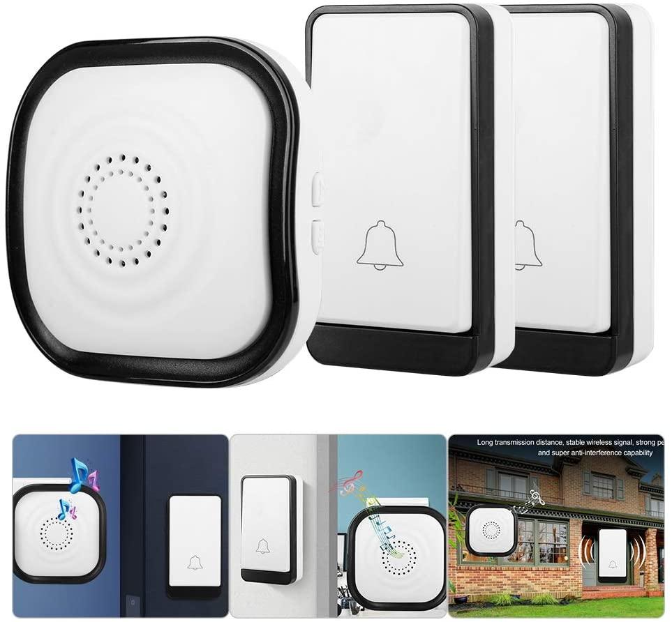 Wireless Doorbell, 1 Remote Button and 2 Plug-in Receivers Waterproof Wireless Doorbell, Home Security Cordless Self-generating Doorbell Alarm Door Bell Kit with 45 Chime