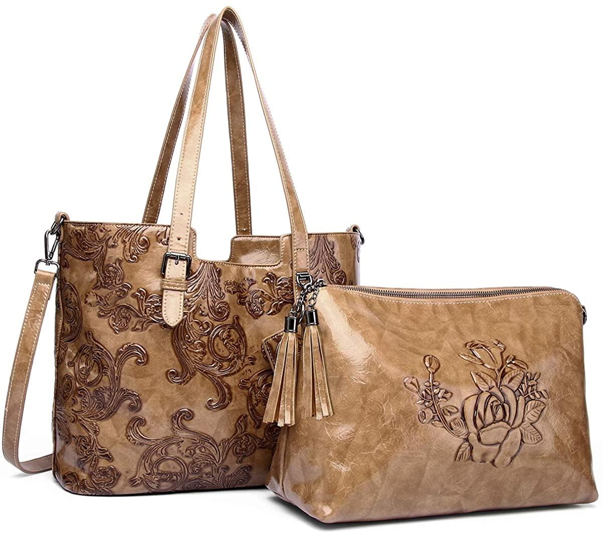 Women Tote Bag Cross-body Cellphone Purse Embossed Top Handle Handbags Large Ladies Satchel Shoulder Bags 2 Pcs Set 812