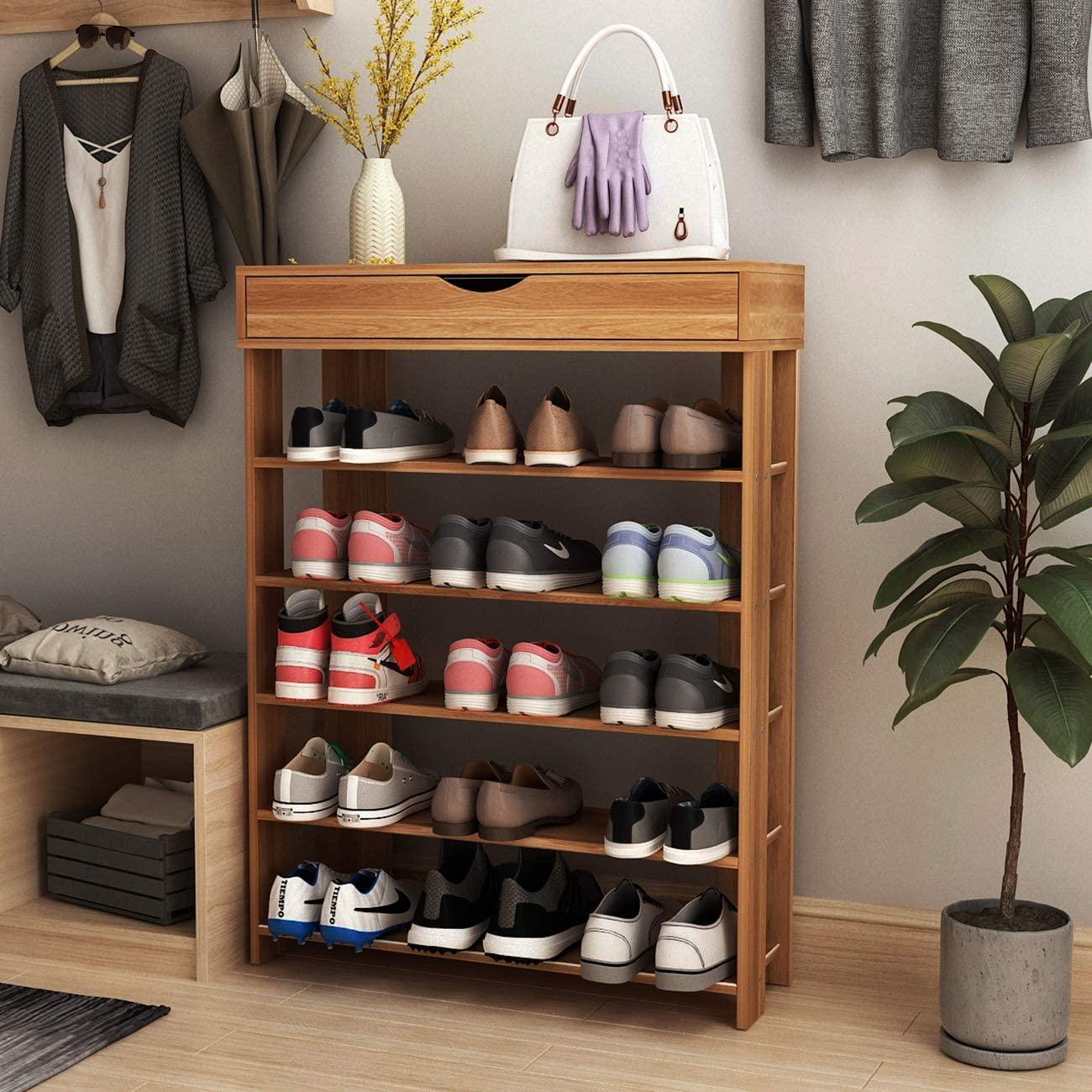 SogesGame 5-Tier Shoe Rack 29.5inch Wooden Shoe Storage Shelf Shoe Organizer for Entryway,Teak,L24-TK-S8-US