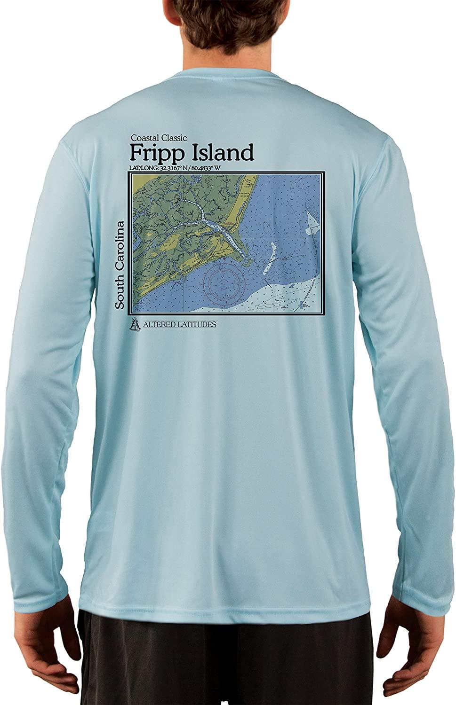 Coastal Classics Fripp Island Nautical Chart Men's UPF 50+ UV/Sun Protection Long Sleeve T-Shirt