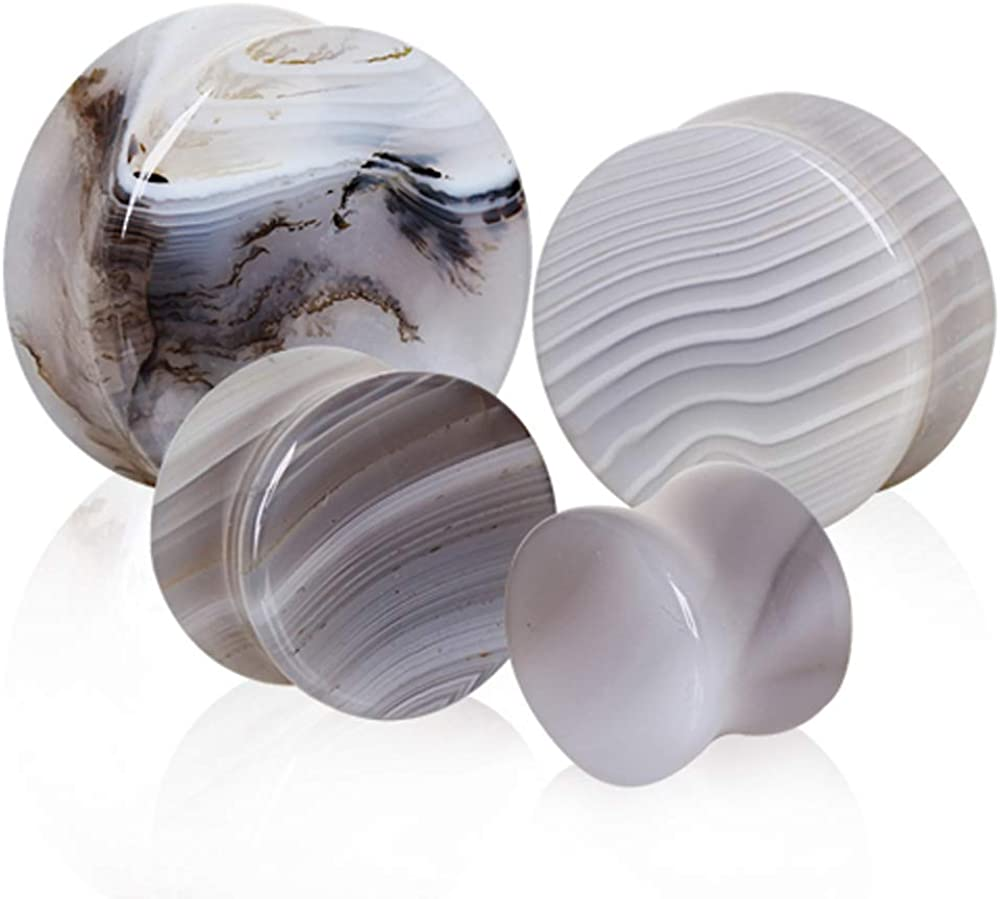 Pierced Owl Natural Grey Agate Stone Saddle Plugs, Sold as a Pair