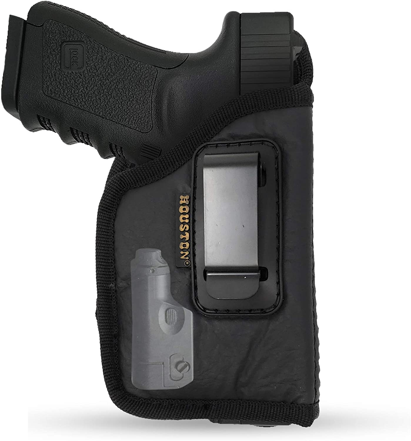 IWB Gun Holster by Houston - ECO Leather Concealment Inside The Waistband with Metal Clip FITS Most MIDSIZES & Compact 9/40/45 with Laser