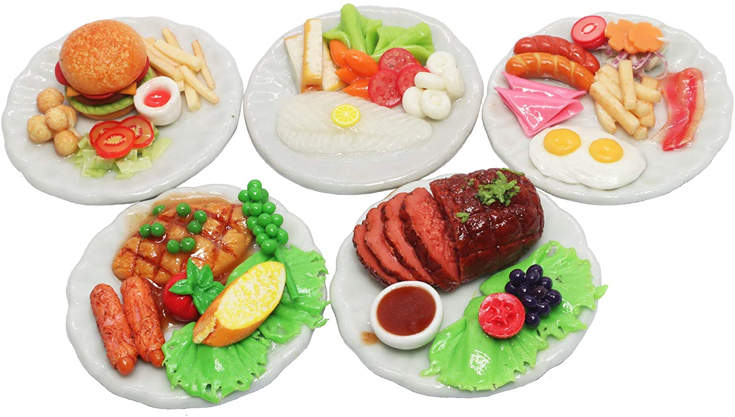ThaiHonest Set 5 Assorted Dollhouse Miniature Food,Tiny Food On Ceramic Plate, Dollhouse Accessories for Collectibles