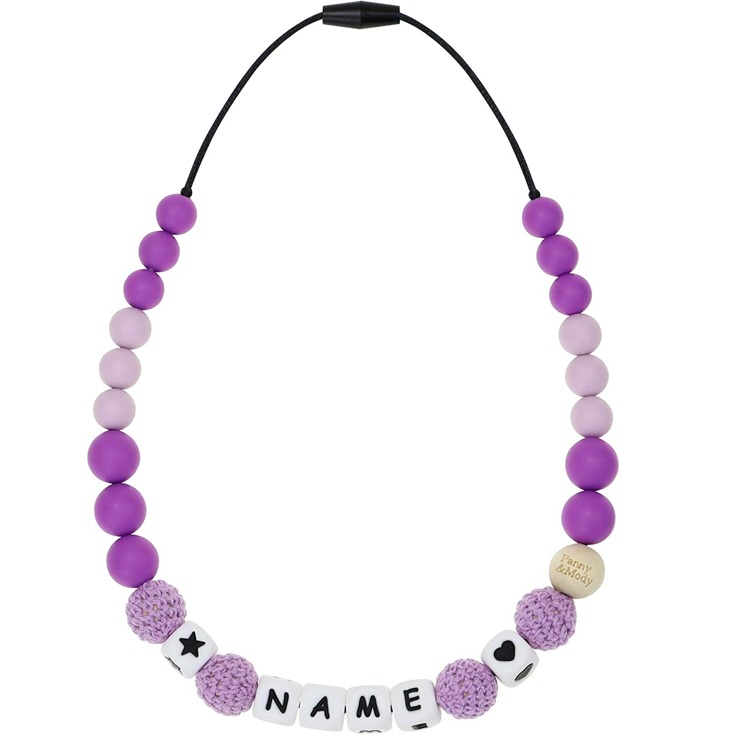 Personalized Name Baby Teething Necklace, Panny & Mody Customized teether Necklace with Silicone and Wooden Crochet Beads for Babies' Teething Gum Pain Relie(Purple)