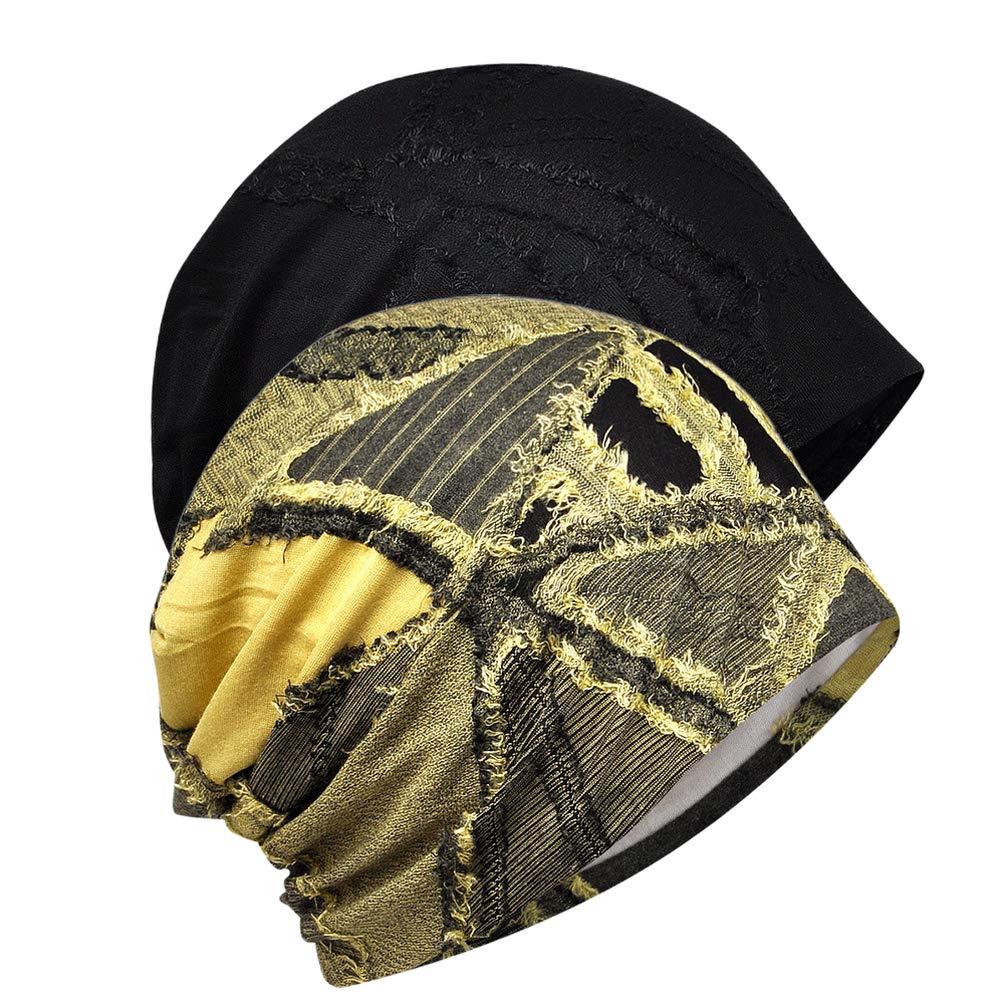 ARTIBETTER 2pcs Women Summer Beanie Caps Sleeping Nightcap Cancer Chemotherapy Head Wrap Bonnet Long Hair Turban Headwear Black Yellow