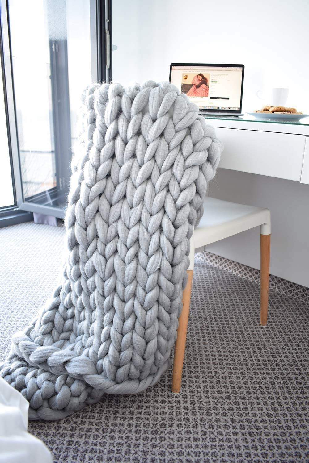 Chunky Knit Blanket - Bed Throw Blankets, Super Soft Cozy Throw Wool Blanket,Thermal Blanket,All Season Warm Plush Blanket - Perfect for Layering Any Bed and Couch(Grey,47