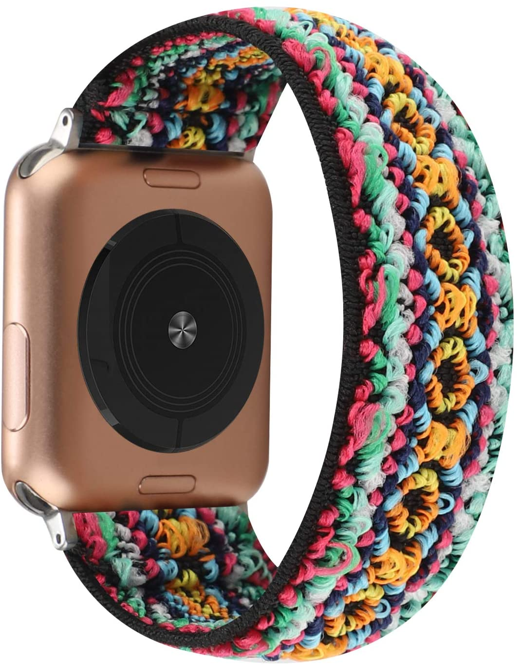 Stretchy Solo Loop Strap Compatible with Apple Watch Band 38mm 40mm 42mm 44mm, Stretch Elastics Nylon Wristband for iWatch Series 6/SE/5/4/3/2/1 (Colourful Mesh Embroidery, 38mm/40mm for M/L Wrist)