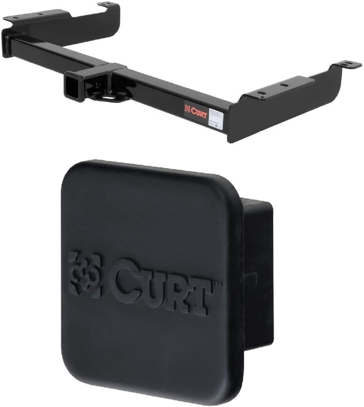 Curt 13040 22272 Class 3 Trailer Hitch with 2 Inch Receiver and 2 Inch Rubber Hitch Tube Cover Bundle for Express and Savana 1500 2500 3500