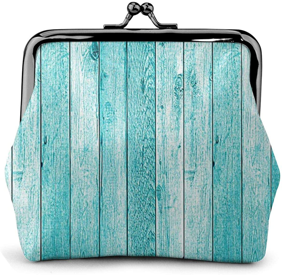 Wooden Planks Texture Wallpaper Pu Leather Exquisite Buckle Coin Purses Vintage Pouch Classic Kiss-Lock Change Purse Wallets Gift
