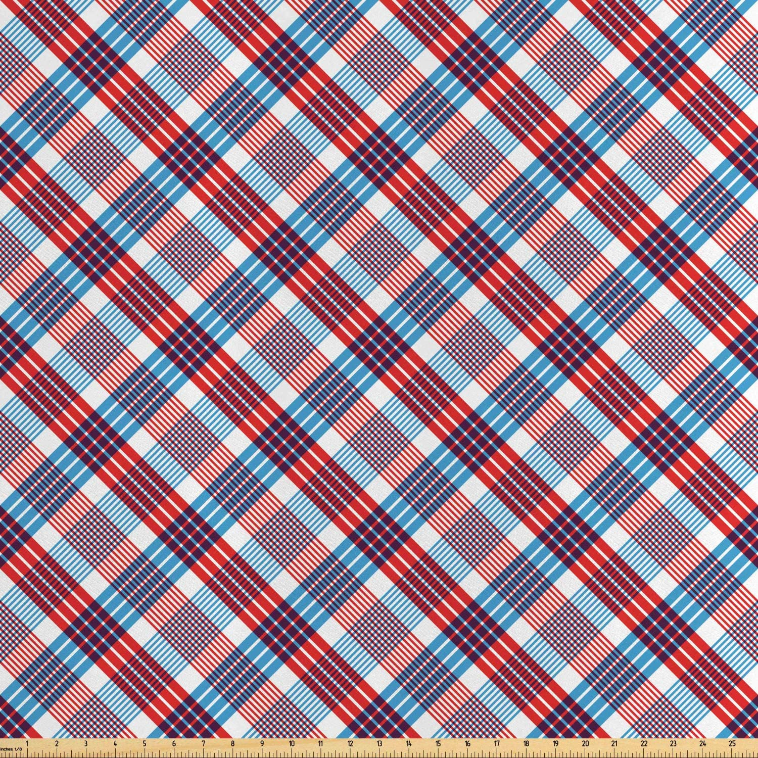 Ambesonne Plaid Fabric by The Yard, Checkered Pattern with Diagonal Stripes Antique Nostalgic Composition, Decorative Satin Fabric for Home Textiles and Crafts, Vermilion Navy Blue