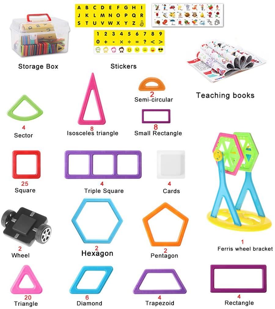 FEIlei Building Blocks 139Pcs Magnetic Building Blocks Tiles Educational Toy for Baby Kids DIY Gift New