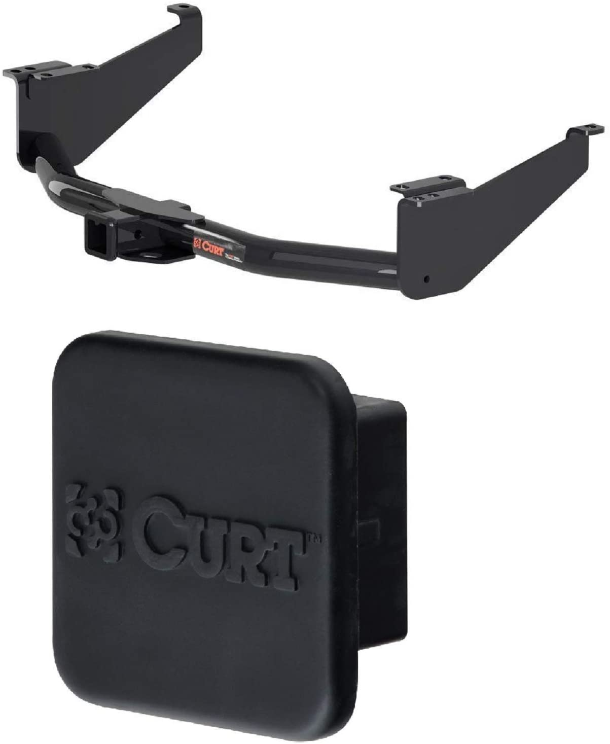 Curt 13304 22272 Class 3 Trailer Hitch with 2 Inch Receiver and 2 Inch Rubber Hitch Tube Cover Bundle for 17-20 Nissan Titan