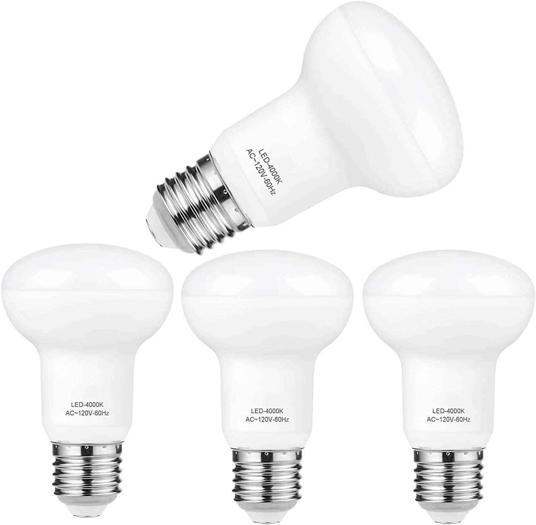 R20/BR20 7 Watt Not Dimmable LED Light Bulb Equivalent 70 Watt Incandescent,E26 Medium Base 4000K Natural White 120 Volt 700 Lumens Incandescent R20 Medium Reflector Light Bulb (4 Pack)
