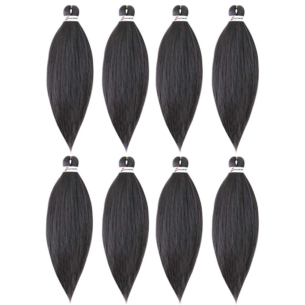 SHUOHAN 8Packs Pre-stretched 26Inch Easy Braiding Hair Extensions Yaki Texture Professional Crochet Braids Hair Hot Water Setting Synthetic Hair for Twist Braids (Light Black(4#))