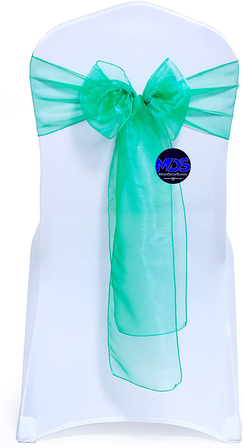 mds Pack of 125 Organza Chair Sashes/Bows sash for Wedding or Events Banquet Decor Chair Bow sash -Green