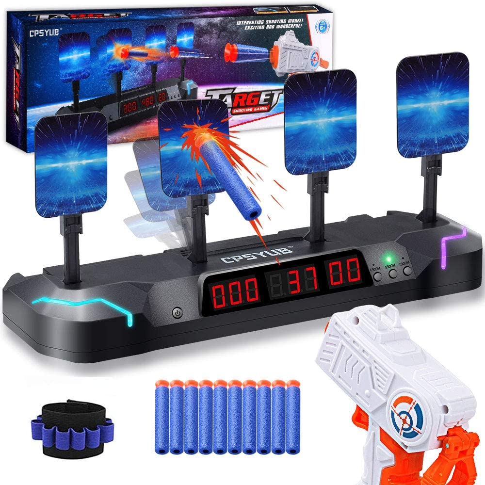 Electronic Shooting Target with Foam Dart and Toy Gun,Auto Reset Digital Targets for Nerf Guns toys gifts for 4,5,6,7,8,9,10 Year Old Kids-Boys&Girls,Compatible with Nerf Toys with 7 colors led light