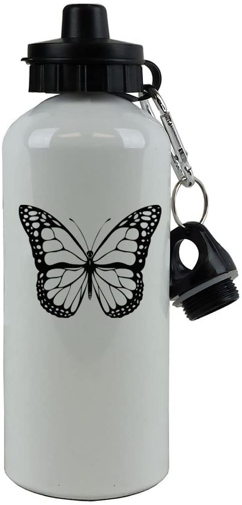 Personalized Custom Butterfly Aluminum White Finish 20 Ounce 600ML Sport Water Bottle Customizable