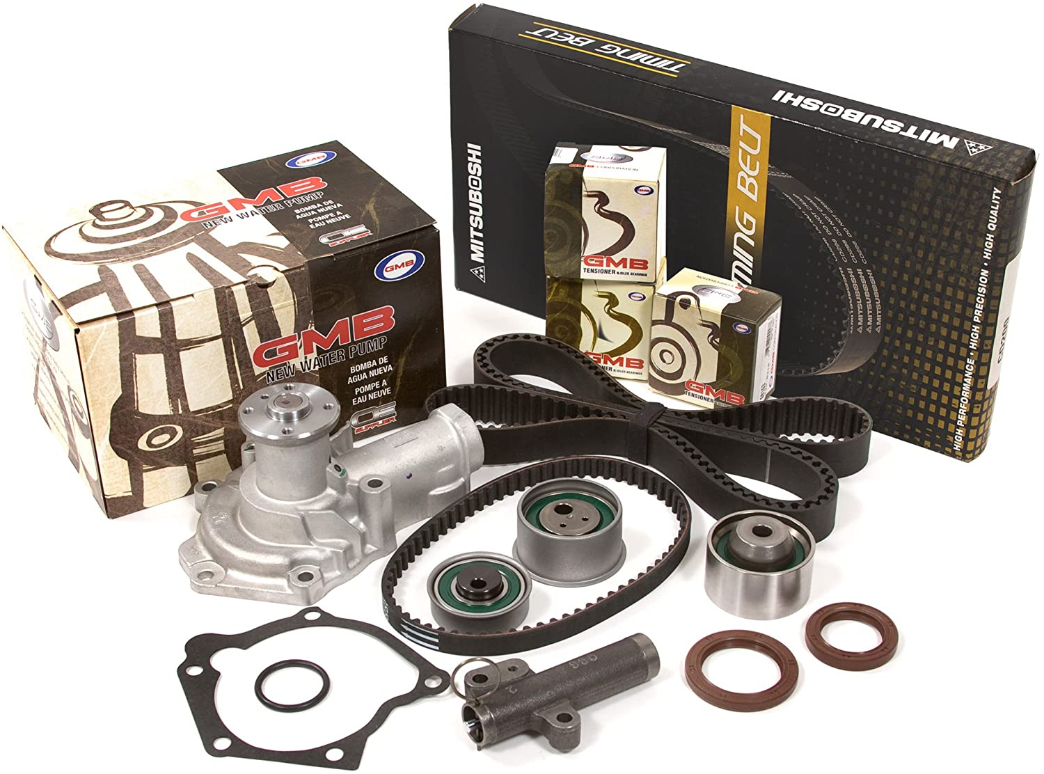 Evergreen TBK232MHWP2 Compatible With 99-05 2.4L Dodge Chrysler Eclipse Galant SOHC 4G64 Timing Belt Kit GMB Water Pump