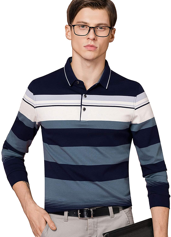 XTAPAN Men's Polo Shirt Cotton Casual Striped Polo T Golf Sport Shirt