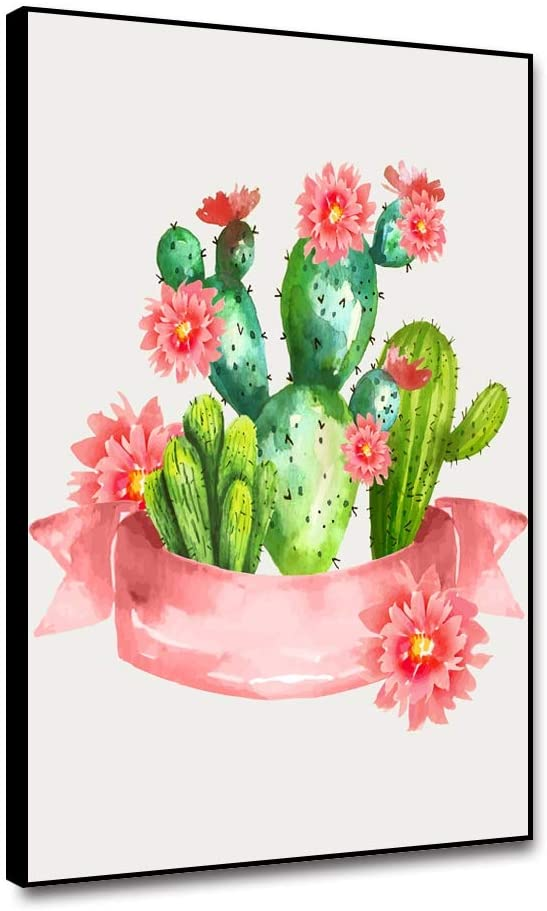 ARRMT Framed Canvas Wall Art Succulent Plants Blooming Cactus Pink Flowerpot for Modern Home Decoration Living Room Bedroom Bathroom Office Art Prints Wall Artwork Decor Poster 12x18inch Easy to Hang