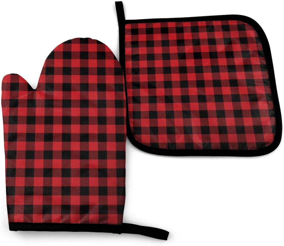 Antvinoler Oven Mitt and Potholder, Red Black Plaid Oven Glove and Pot Holder Mat Set, Advanced Heat Resistant Oven Mitt, Non-Slip Textured Grip Pot Holders