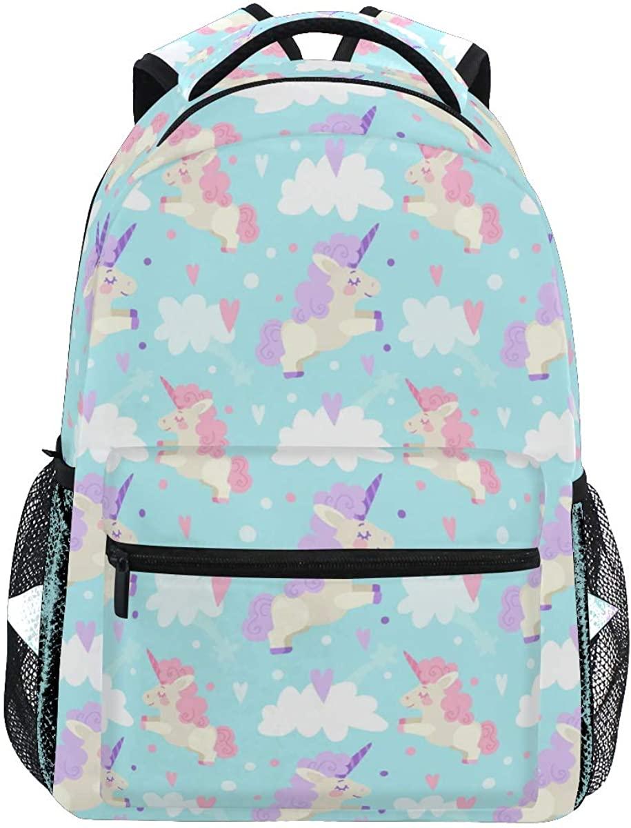 Cute Unicorn Horse Heart Cloud Blue Backpack School Bookbag Rucksack Shoulder Book Bag for Boys Girls Women Travel Daypacks
