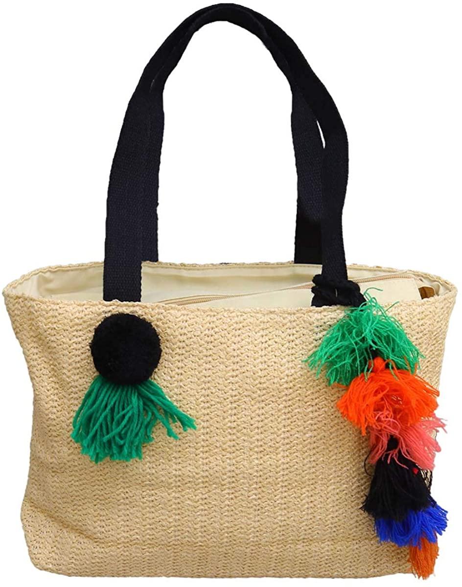FENICAL Tote Straw Top Handle Bag Woven Tassel Handbag Summer Beach Bag for Women Girls