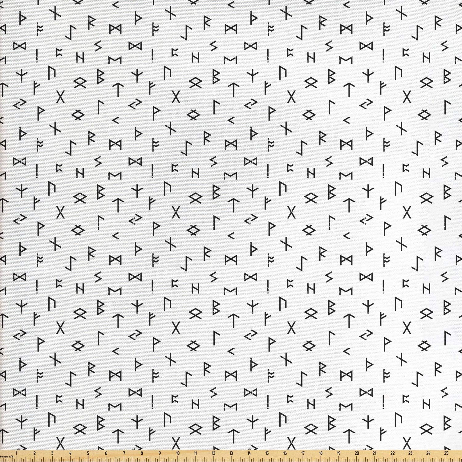 Ambesonne Occult Fabric by The Yard, Minimalist Anatolian Tribal Hieroglyph Mythologic Alphabet Artwork Print, Decorative Fabric for Upholstery and Home Accents, 1 Yard, Black White