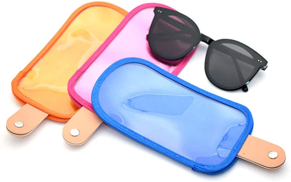 YASUOA 3 Pieces Sunglasses Bags PU Translucent Glasses Protective Case,Retro Portable Eyeglasses Storage Pouch with Snap Button,Anti-Scratch Goggles Sleeve
