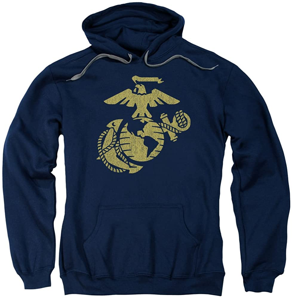 A&E Designs US Marine Corps Gold Distressed Emblem Navy Adult Hoodie Hoody