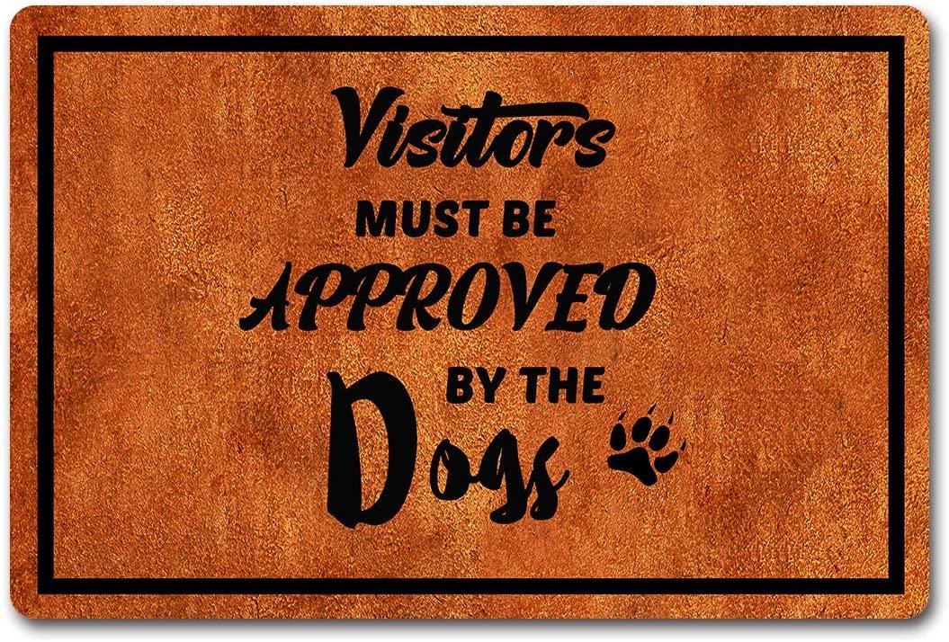 Funny Doormat Visitors Must Be Approved by The Dogs Entrance Floor/Outdoor/Indoor/Front Door Mat Bathroom/Kitchen Rugs Personalized Monogram Welcome Mat 23.6