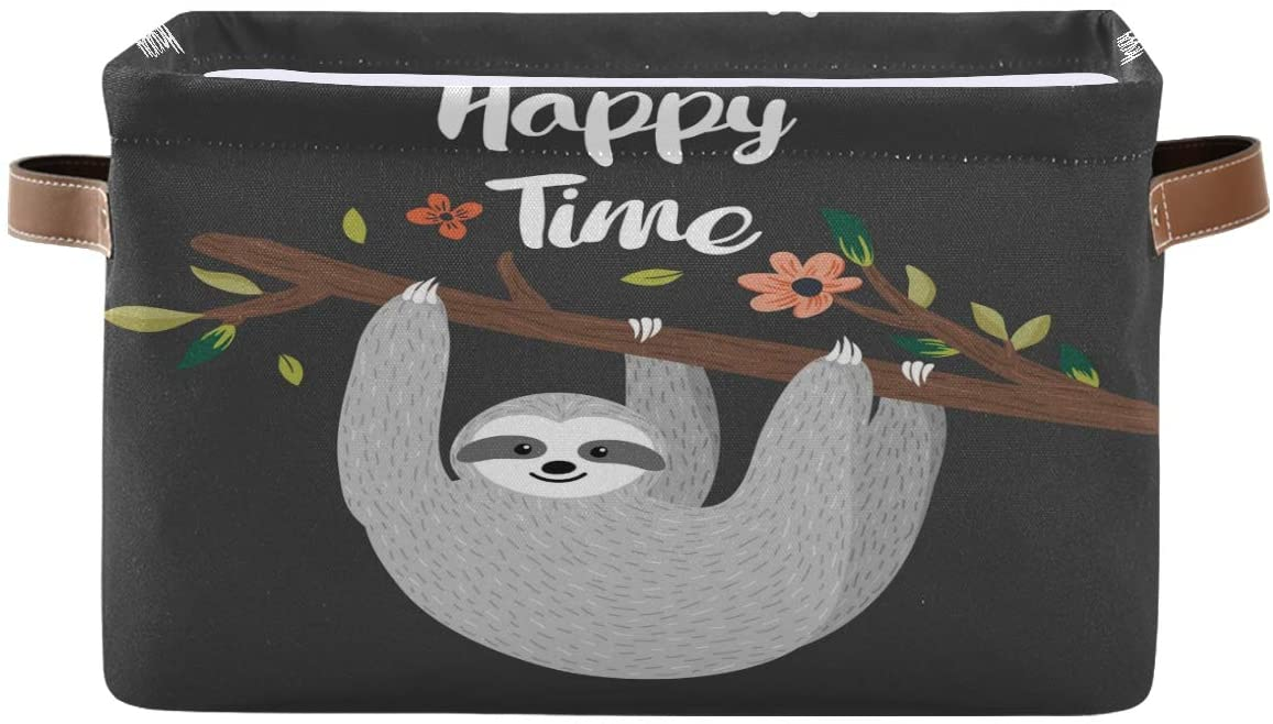 Toprint Funny Sloth Tree Branch Storage Basket Bin Florals Large Fabric Toys Storage Cube Box with Handles Collapsible Closet Shelf Cloth Organizer Basket for Nursery Bedroom