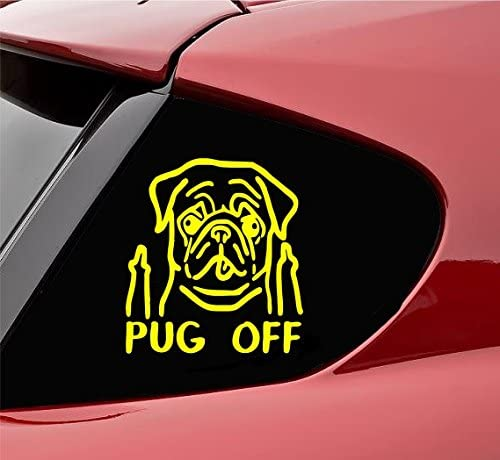 Funny pug off Vinyl Decal Sticker dog pet rescue (Yellow)